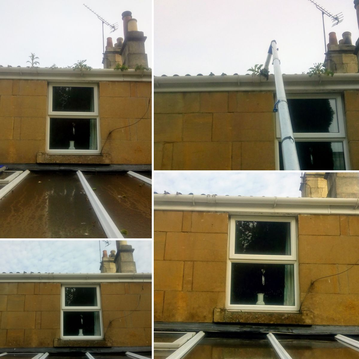 Before, during and after gutter cleaning by LDM Services