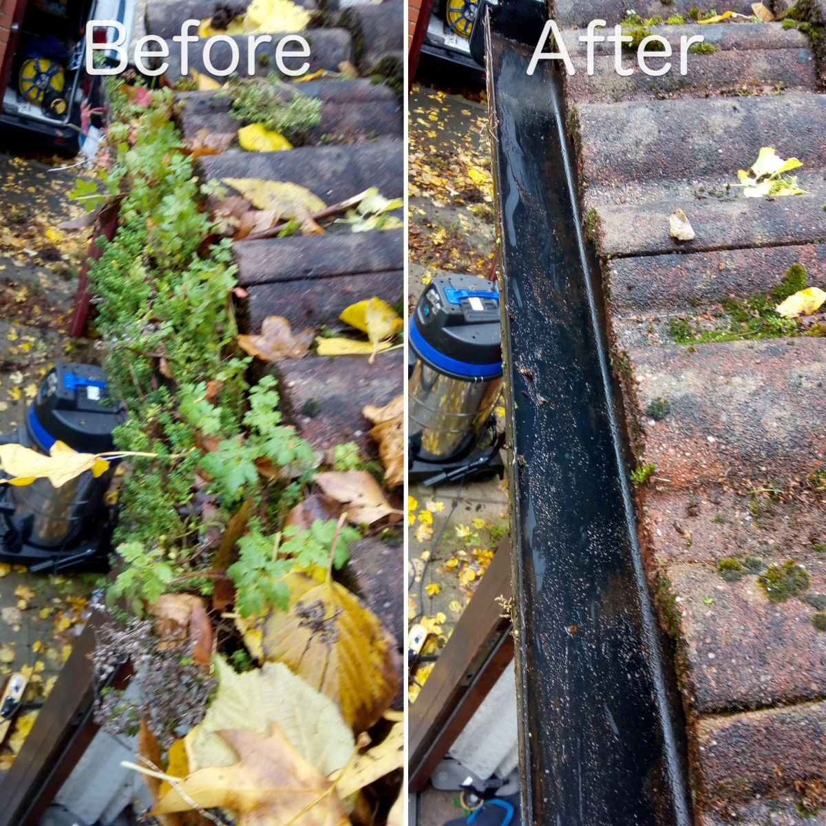 Before and after image of gutter cleaning by LDM Services